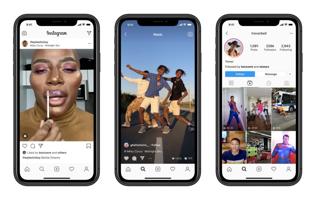 Three iphones showing Instagram Reels on video creators profiles on Instagram app