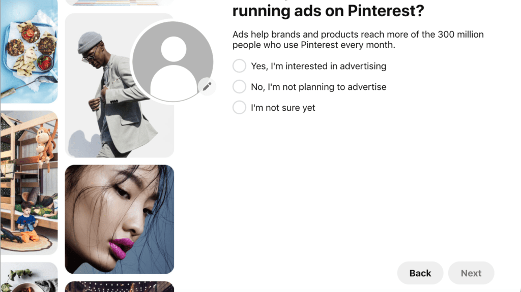 Example of Pinterest Ad Profile Page