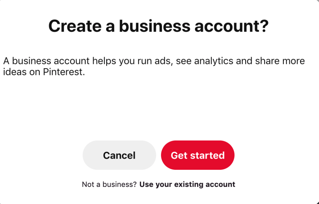 Example of Pinterest Business Account Login Page.