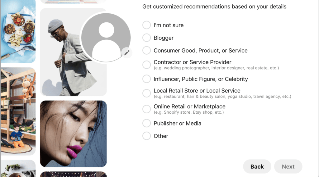 Example of Pinterest Business Profile Recommendations
